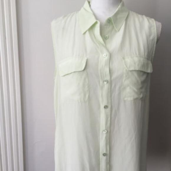 b514b93b Equipment Tops | Mint Green Sleeveless Silk Blouse Top | Poshmark